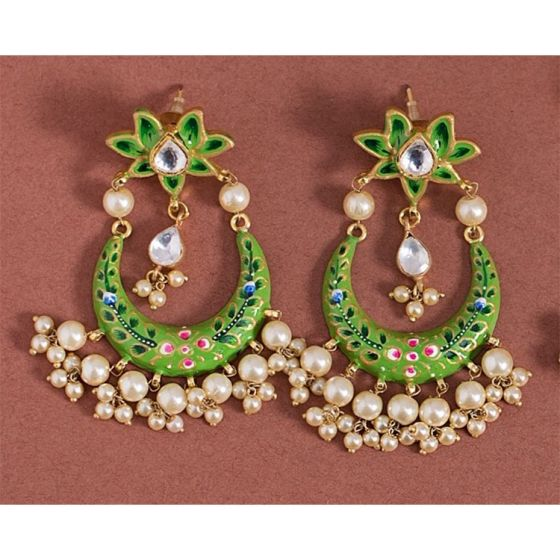 Green Crescent Floral Top Earrings