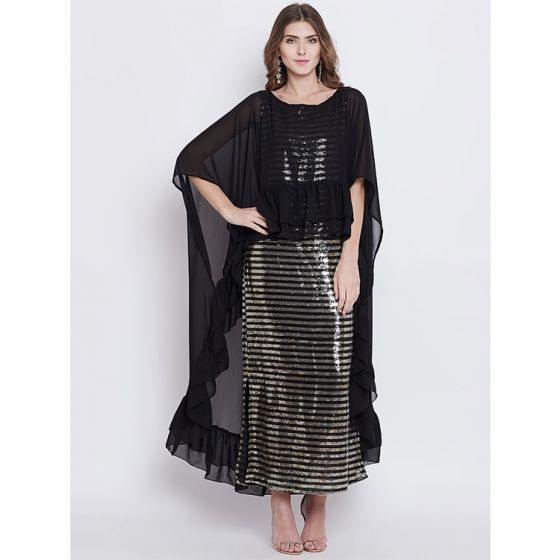 Black & Gold Sequins Dress with Georgette Cape
