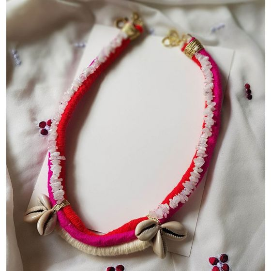 Red and Pink Thread Stone Necklace