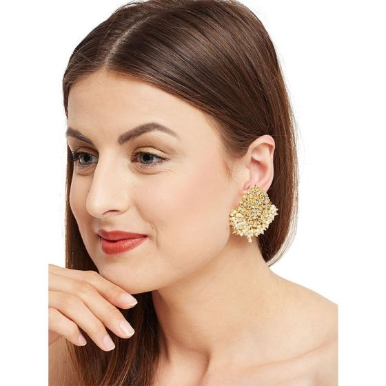 Kundan and Pearl Floral Studs