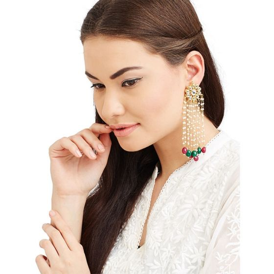 Kundan Floral Earrings with Ruby and Emerald Drop