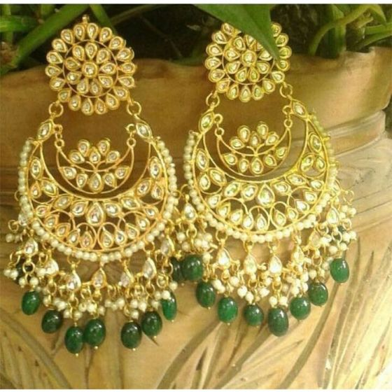 Green Kundan and Pearl Chandbali