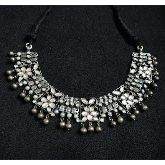 Antique Silver Kundan Necklace