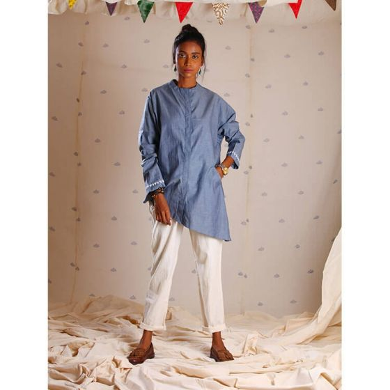Grey Denim Shirt with Embroidery on Sleeves
