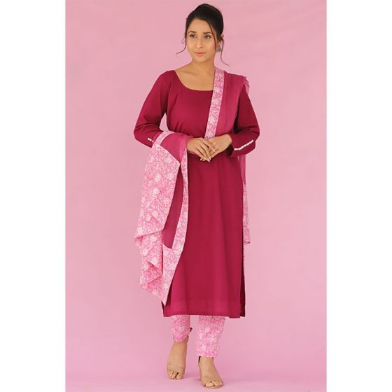 Purple and Pink Kurta Pants Set