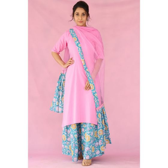 Pink Kurta and Floral Printed Palazzo Set