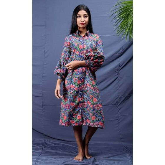 Pink and Blue Floral Baloon Tunic