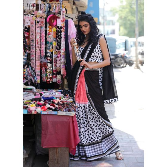 Black and White Micky Mouse Saree