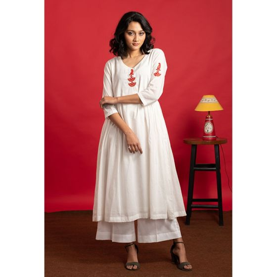 Ivory Flared Hand Embroidered Kurta Palazzo Set