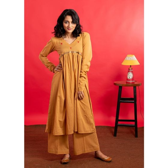 Mustard Brown Flared Hand Embroidered Kurta Palazzo Set