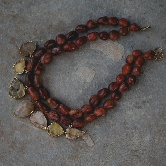Brown 2 Layered Stone Necklace