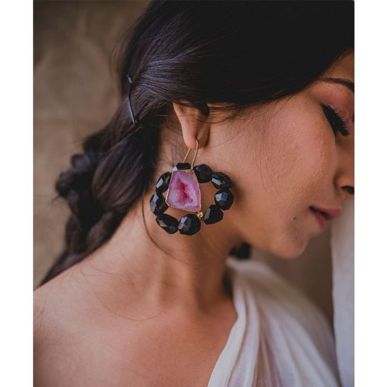 Black and Pink Stone Earrings