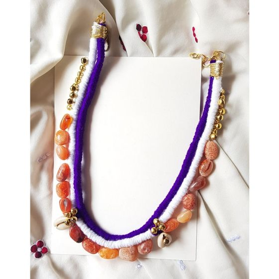 Purple and White Thread Stone Necklace