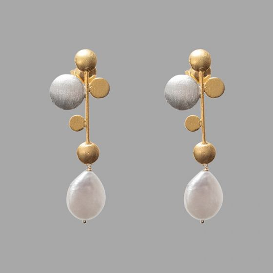 Silver and Gold Pearl Drop Earrings