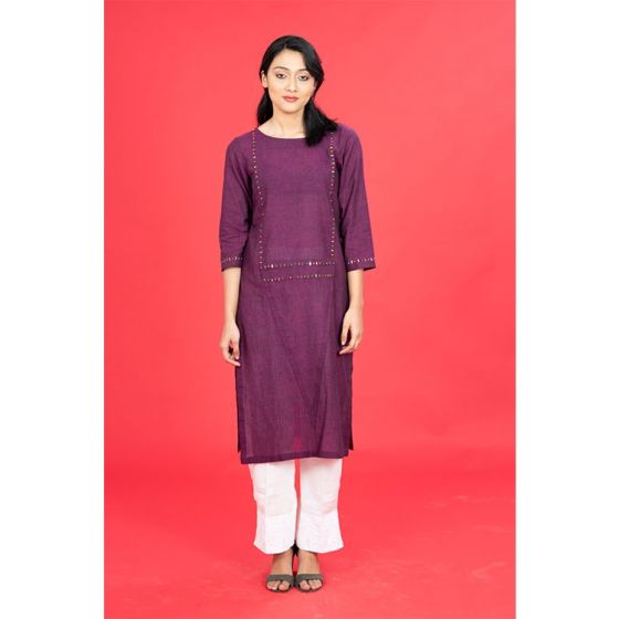 Purple Mangalgiri Embroidered Kurta