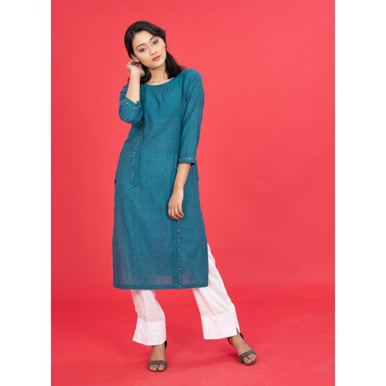 Teal Mangalgiri Embroidered Kurta