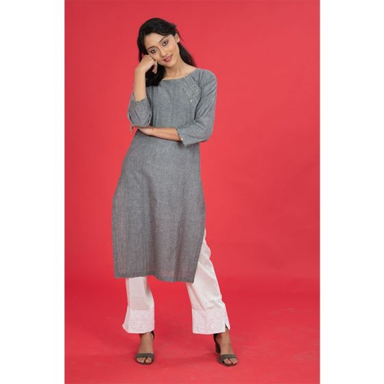 Grey Straight Embroidered Kurta