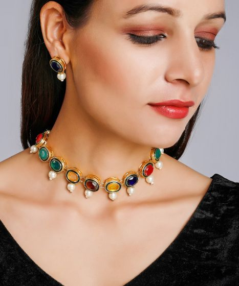 Multi Colored Kundan set