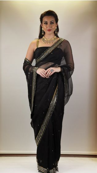 Black Embellished Sari with Blouse
