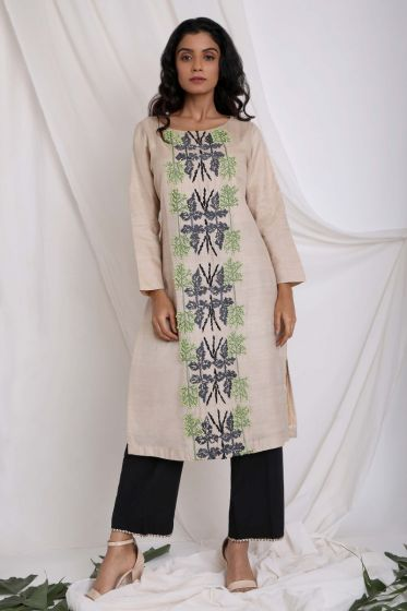 Beige Embroidered Kurta