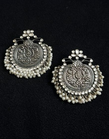 Kundan Pearl Silver Earrings