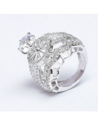 Big Diamond Silver Ring