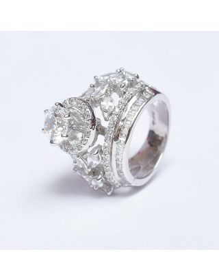 White Diamond Silver Ring