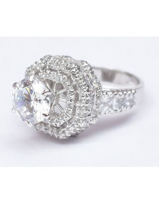 Sleek Dia Zircon Silver Ring