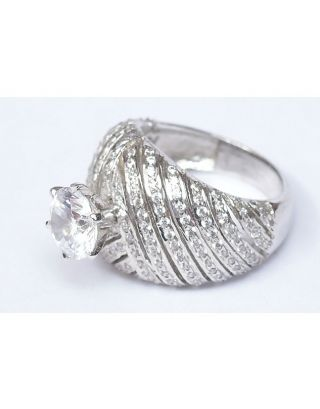 Classic Zircon Silver Ring