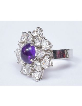 Amethyst Zircon Ring
