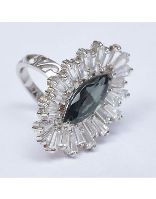 Black Zircon Silver Ring