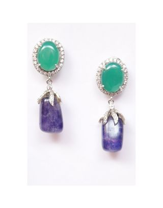 Green and Blue Stone Earrings