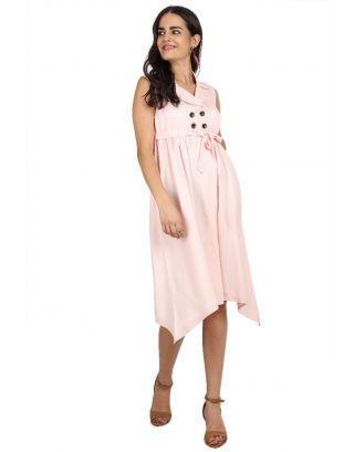 Pink Asymmetrical Rayon Embroidered Dress