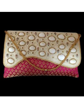 Designer Pearl Shell Clutch