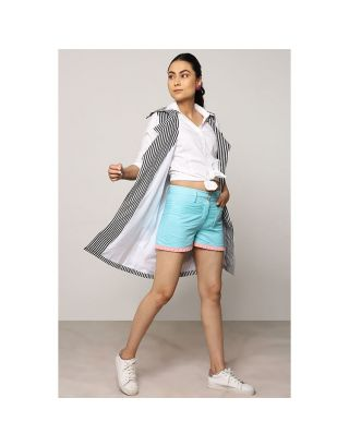 Turquoise Blue Pleated Shorts