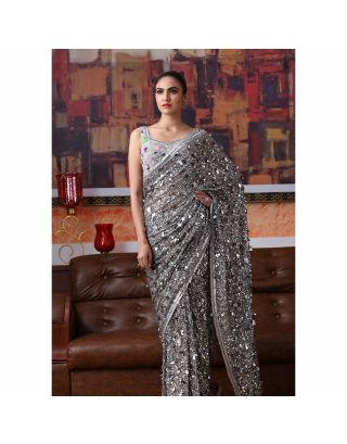 Grey Sequins and Bugle Beads Saree with Embroidered Blouse