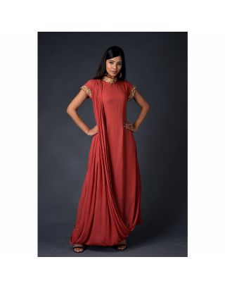 Rust Georgette drape Gown