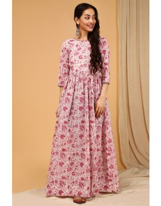 Wine Jaal Kantha Dress
