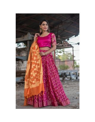 Magenta Banarasi Lehenga Set with Orange Dupatta
