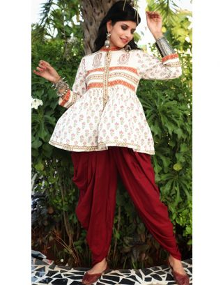 White Printed Top with Maroon Dhoti