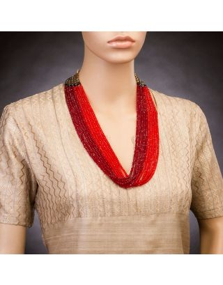 Maroon and Red Ten Crystal Strings Necklace