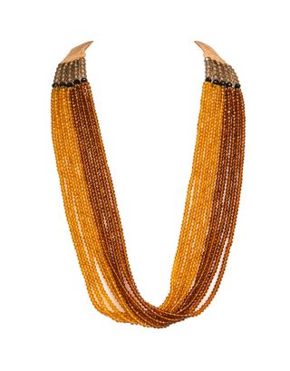 Brown and Mustard Six Crystal Strings Necklace