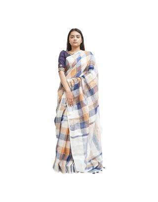 White and Blue Checked Saree