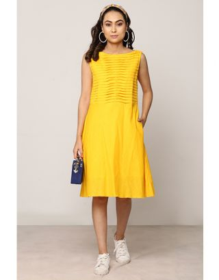 Ochre Yellow A-Line Dress