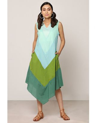 Green Shaded Assymetrical Dress