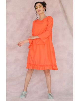 Orange Frill A-Line Dress