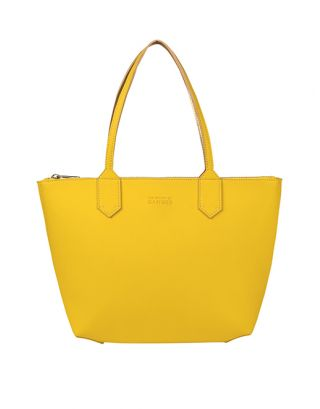 Faux Leather Yellow Tote Bag