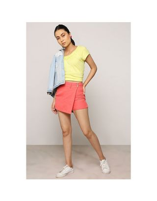 Coral Front Overlap Shorts