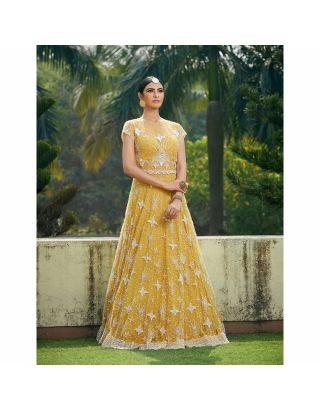 Mustard Lehengha with Pearl and Sequins work