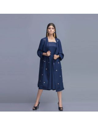 Navy Blue Shimmer Georgette Cape and Romper